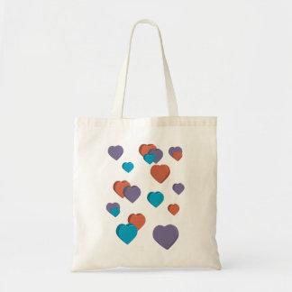 saco dos corações 3D Sacola Tote Budget