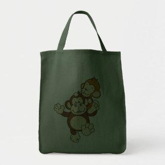 Saco dos irmãos do macaco sacola tote de mercado