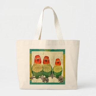 Saco dourado dos pássaros do amor do vintage bolsa de lona