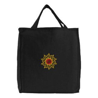 Saco escuro bordado símbolo do OM da ioga Bolsas Para Compras