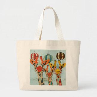 Saco espreitando de três girafas bolsa de lona