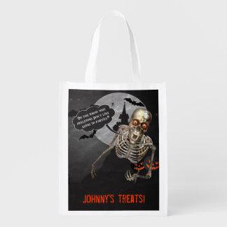 Saco feito sob encomenda de esqueleto engraçado do sacolas reusáveis