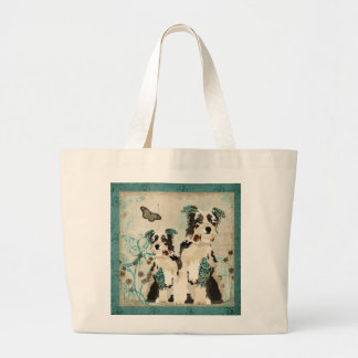 Saco floral azul dos cães do vintage bolsa para compra