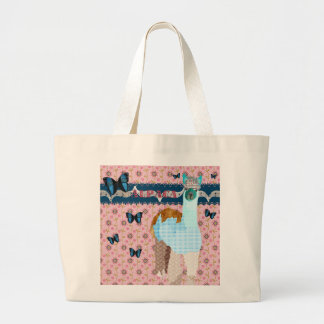 Saco floral cor-de-rosa retro da alpaca bolsa para compras