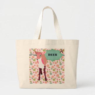 Saco floral dos cervos cor-de-rosa bonito retros sacola tote jumbo