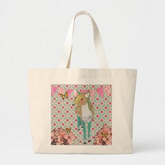 Saco floral dos cervos enfadados bonito retros bolsa para compras