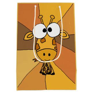 Saco Funky do presente do abstrato do girafa Sacola Para Presentes Média