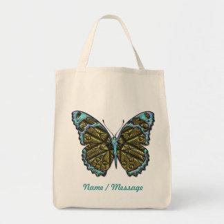Saco gravado da borboleta 3 bolsa para compras