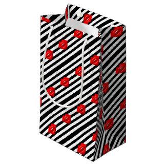 Saco listrado branco do presente do preto vermelho sacola para presentes pequena