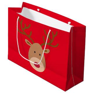 Saco lustroso do presente da rena do Natal Sacola Para Presentes Grande