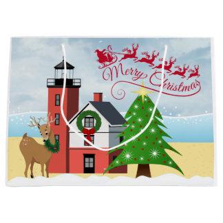 Saco náutico do Natal com farol Sacola Para Presentes Grande