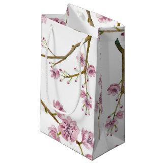 Saco pequeno do presente da flor de cerejeira de sacola para presentes pequena