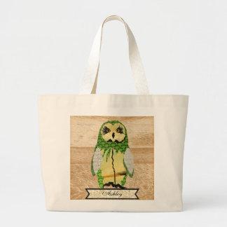 Saco personalizado do jade coruja aciganada sacola tote jumbo