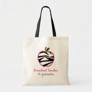 Saco pré-escolar do professor - impressão Apple da Bolsa Tote