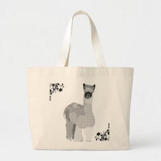 Saco preto & branco da arte da alpaca do vintage sacola tote jumbo