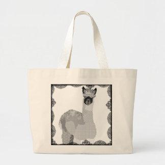Saco preto & branco da arte da alpaca sacola tote jumbo