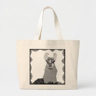 Saco preto & branco da arte do lama sacola tote jumbo