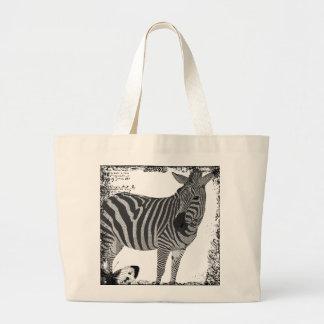 Saco preto & branco do vintage da zebra da arte sacola tote jumbo