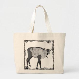Saco preto & branco do vintage de Nilgi da arte Sacola Tote Jumbo