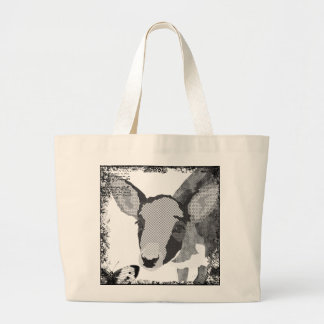 Saco preto & branco do vintage dos cervos da arte sacola tote jumbo