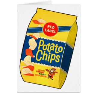 Saco retro das microplaquetas de batata das batata cartões