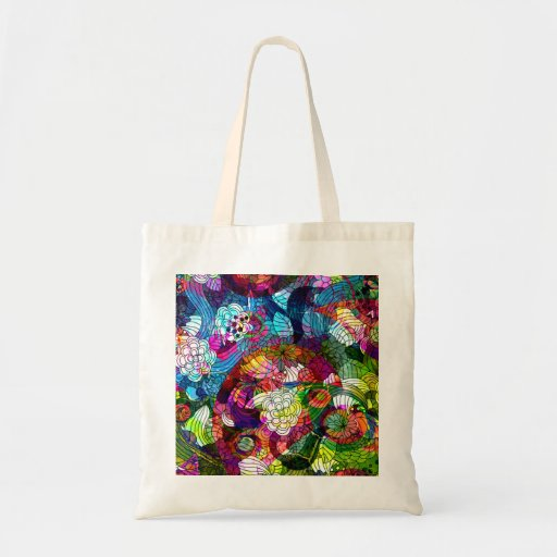 Saco retro ornamentado & colorido da flor bolsa de lona