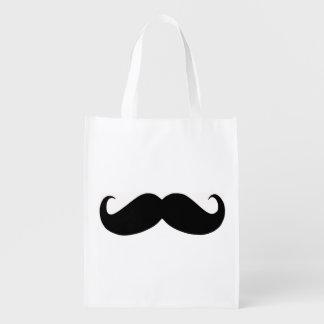 Saco reusável do bigode do hipster sacolas ecológicas