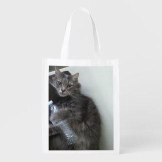 Saco reusável do gato sacola ecológica para supermercado