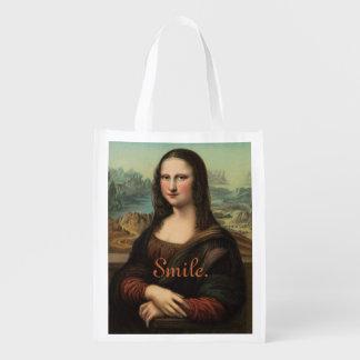 Saco reusável do sorriso de Mona Lisa Sacolas Reusáveis