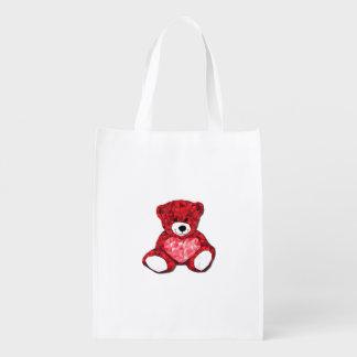 Saco reusável do urso de ursinho sacolas ecológicas para supermercado