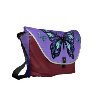 Saco roxo do rickshaw das borboletas bolsas mensageiro