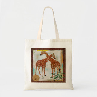 Saco tropical do monograma dos girafas bolsas para compras