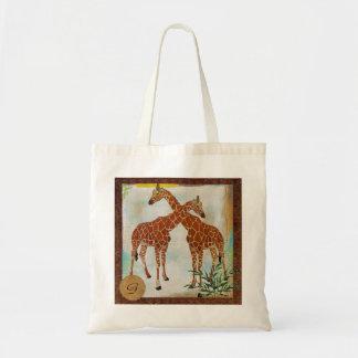 Saco tropical do monograma dos girafas sacola tote budget