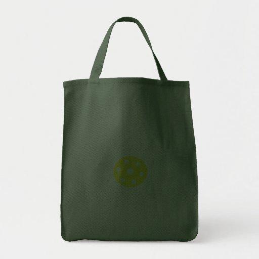 Saco verde com a flor branca dos desenhos animados bolsa de lona