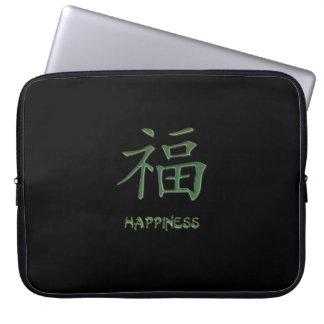 Saco verde do laptop do caráter chinês da capas para computadores