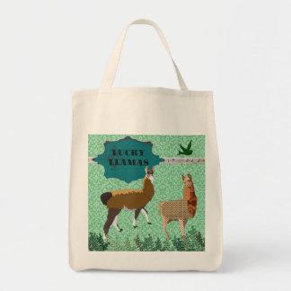 Saco verde dos lamas afortunados bolsa para compra