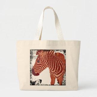 Saco vermelho da arte da zebra do vintage sacola tote jumbo