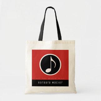 saco vermelho/preto da música para um músico à bolsa tote