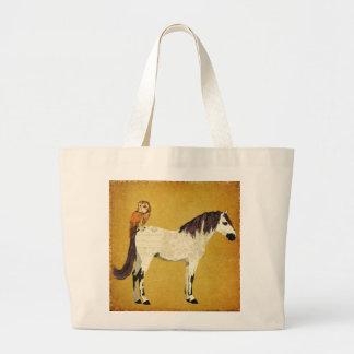 Saco violeta do cavalo & da coruja bolsas para compras