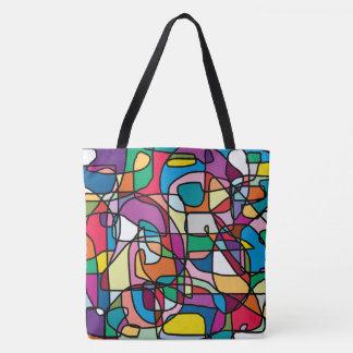 Sacola abstrata do Doodle das cores (grande) Bolsa Tote