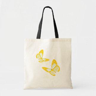 Sacola amarela de duas borboletas sacola tote budget
