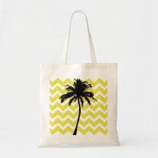 Sacola amarela e preta da palmeira sacola tote budget