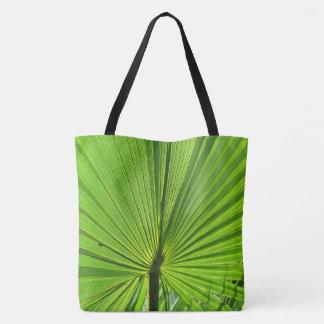 Sacola (ao) - fronda verde da palma bolsa tote