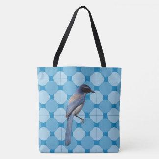 Sacola (ao) - pássaro no fundo do mosaico bolsas tote