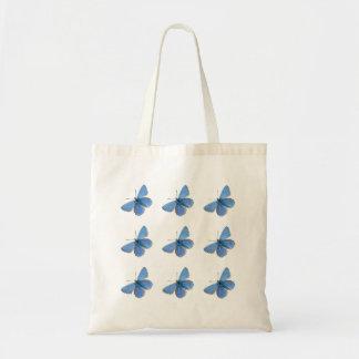 Sacola azul bonita da borboleta sacola tote budget