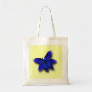 Sacola azul brilhante abstrata da borboleta bolsas de lona