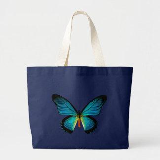 Sacola azul da borboleta bolsa tote grande