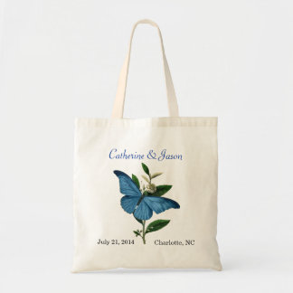 Sacola azul do casamento da borboleta do vintage sacola tote budget