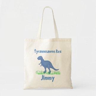 Sacola azul do dinossauro dos desenhos animados bolsa para compras