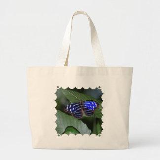 Sacola azul e branca das canvas da borboleta bolsas de lona